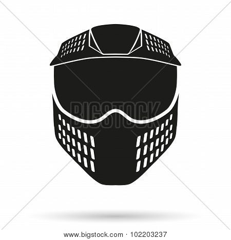 Silhouette symbol of paintball mask with goggles. Original design.