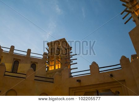 Typical middle eastern wind tower structure. A wee hour shot.