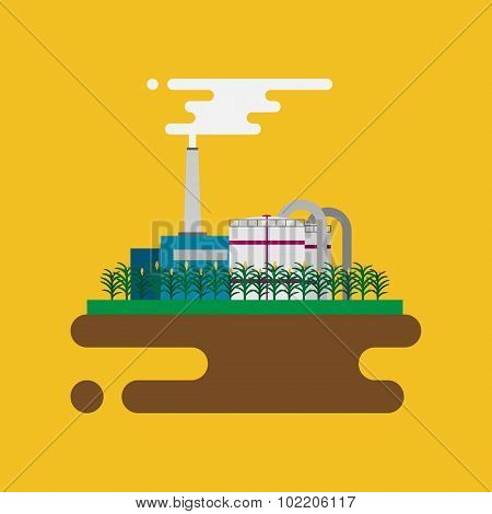 Vector concept of biofuels refinery plant for processing natural resources like biodiesel