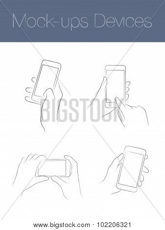 Set of simple mock-ups mobile devices