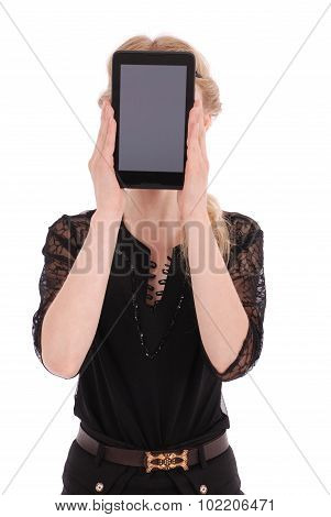 Girl Keeps Tablet Pc The Face