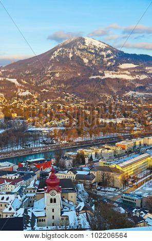Salzburg Austria at sunset - architecture background