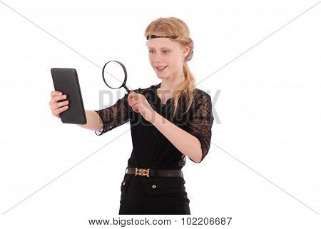 Girl Examines Tablet Pc