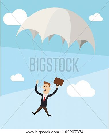 Businessman descends by parachute. Flat vector concept.