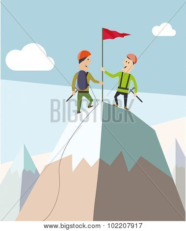 Two climbers on a mountain peak. Business and success concept. Flat vector,