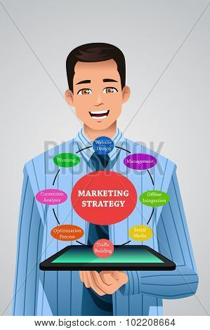 Businessman Showing Marketing Strategy From His Tablet