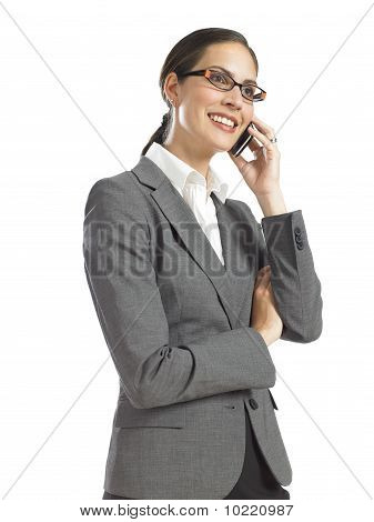 Young Confident Business Woman Speaking On Phone