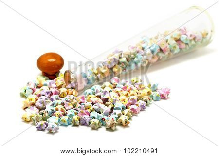 Colorful Origami Lucky Stars Isolated On White