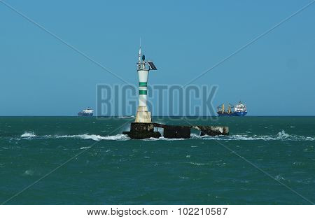View of a beacon in the high sea