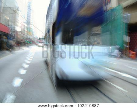 Moving streetcar in Hong-Kong, China