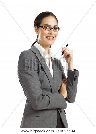 Young Confident Business Woman Holding A Pen