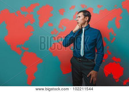 man male teacher Professor businessman thinking standing sideway