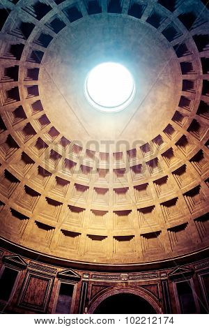 Rome, Italy - October 29: Interior Of Ancient Pantheon In Rome, Italy On October 29, 2014.