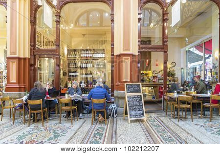 People In An Indoor, Stylish Cafe In A Classic Shopping Mall In Melbourne
