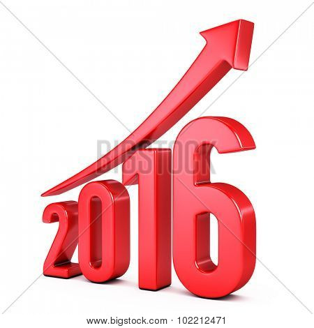 red 2015  year with arrow up - growth concept