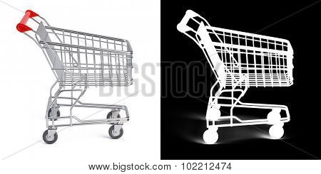 Supermarket shopping cart with opacity mask