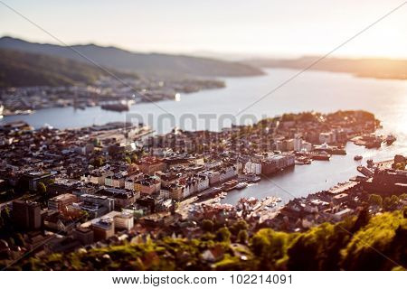 View on Bergen Norway. Tilt shift lens.