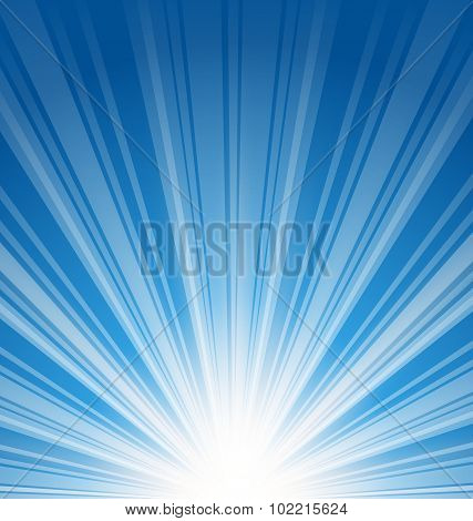 Abstract blue background with sunbeam