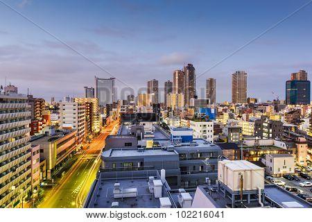 Kawasaki, Kanagawa, Japan downtown cityscape.