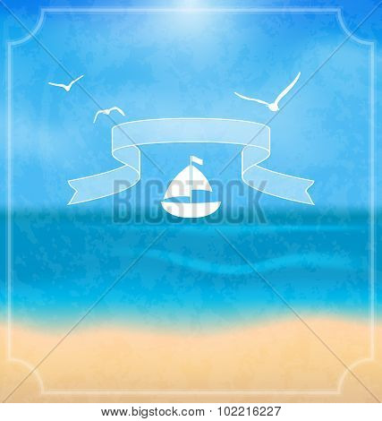 Holiday card with beach for your summer design
