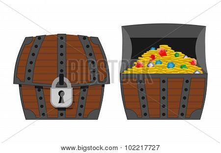 Treasure Chest. Outdoor And Indoor Wooden Box. Gold Coins And Precious Stones: Diamonds And Sapphire