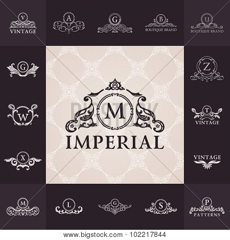 Luxury vintage logo set. Calligraphic emblems and elements elegant decor. Vector ornament for letter