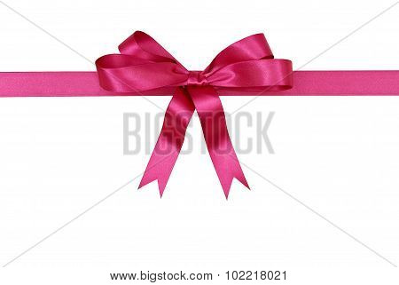 Pink Gift Ribbon And Bow Isolated On White Background Horizontal