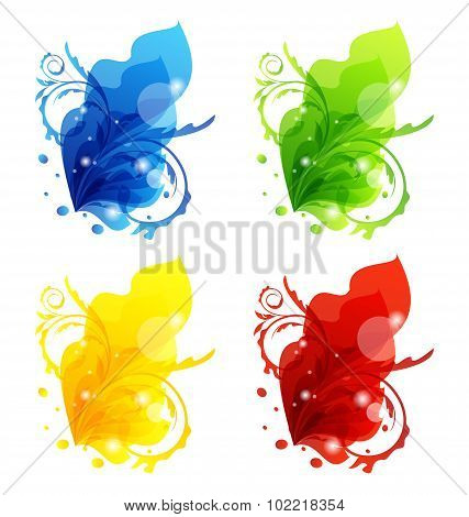 Four seasonal floral colorful frames isolated