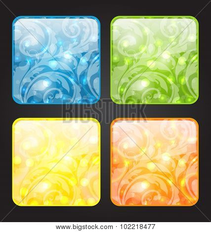 Set four seasonal icon with floral colorful background