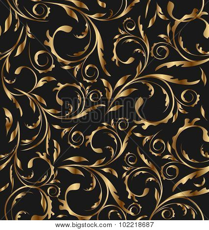 Golden seamless floral background, pattern for continuous replic
