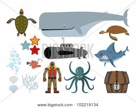 Underwater Set. Keith And Submarine, Shark And Terrible Octopus. Sea Turtle And Pirates Treasu
