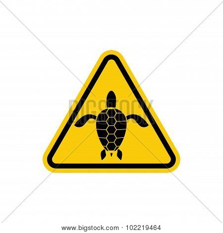 Yellow Sign Attention Water Turtle. Marine Reptile On Yellow Triangle. Vector Illustration
