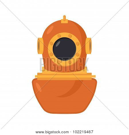 Vintage Diving Helmet. Od Wetsuit For Scuba Diving. Copper Protective Retro Helmet Diver. Vector Ill