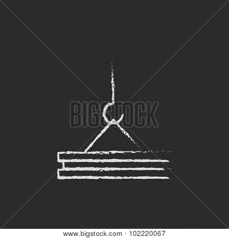 Crane hand drawn in chalk on a blackboard vector white icon isolated on a black background.