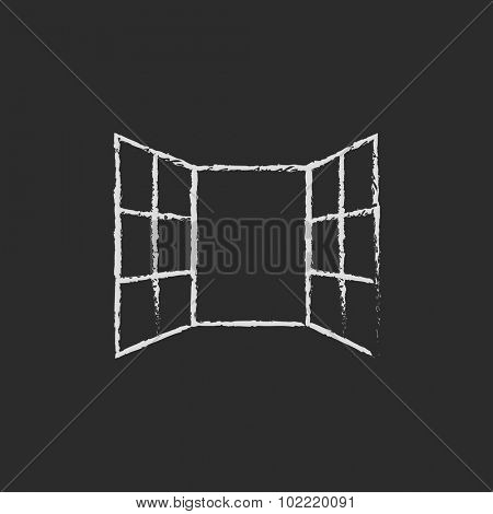 Open windows hand drawn in chalk on a blackboard vector white icon isolated on a black background.