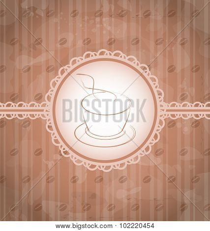 Vintage background with coffee label, coffee bean's texture