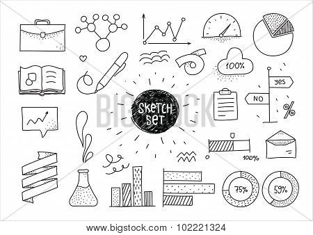 Sketch set of infographic hand drawn elements and icons. Doodles for design.