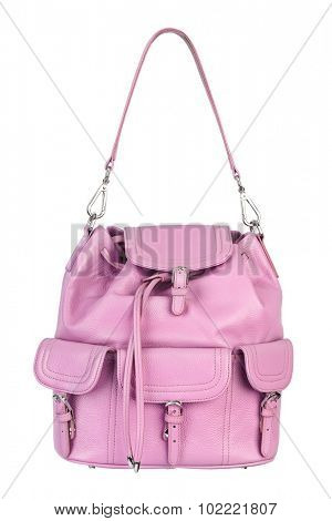 Pink woman handbag isolated on white background