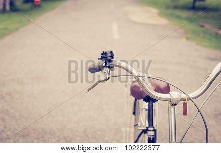 Bell And Brake Vintage Bike On Road