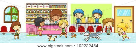 Cute Cartoon Animal Hospital Interior Scene With Owners Bringing Their Pet Dog Cat And Rabbit To Dia