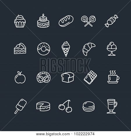 Bakery and Pastry Outline Icons Set. Vector