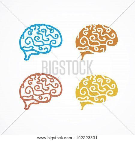 Brain Icon Set. Vector