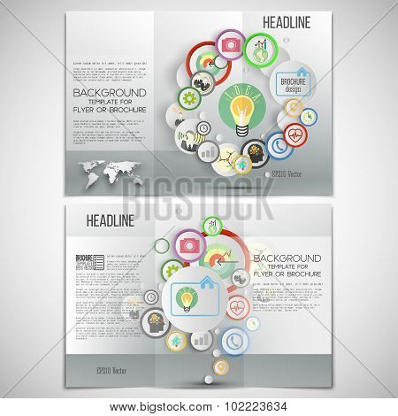 Vector set of tri-fold brochure design template on both sides. Gray backgrounds, infographics with c
