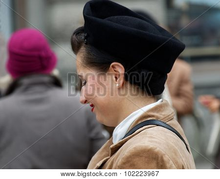 Woman Wearing Old Fashioned Tweed Clothes