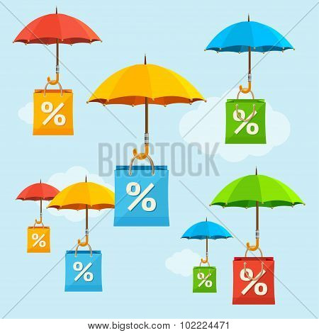 Umbrella Sale Concept. Vector