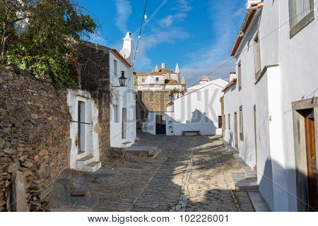 Europe, Portugal, Evora - Monsaraz village street view, near the biggest artificial lake