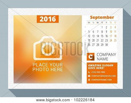 September 2016. Desk Calendar For 2016 Year. Vector Design Print Template With Place For Photo, Logo