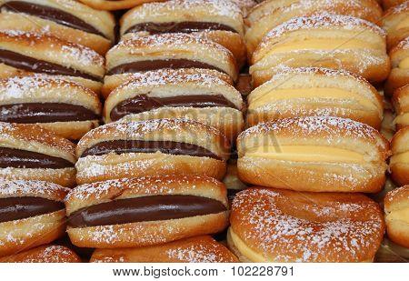 Doughnuts With Custard And Chocolate