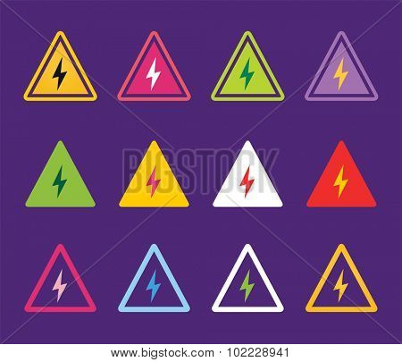 Attention warning sign icons set. Warning vector icons. Warning logo. Exclamation mark. Hazard warning symbol. Triangle warning symbols isolated on white background
