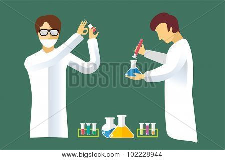 Science laboratory vector people set. People in laboratory isolated silhouette. Chemist, Medical Doctor, Scientist laboratory, science, research, biologist, lab, test, flask icons vector illustration